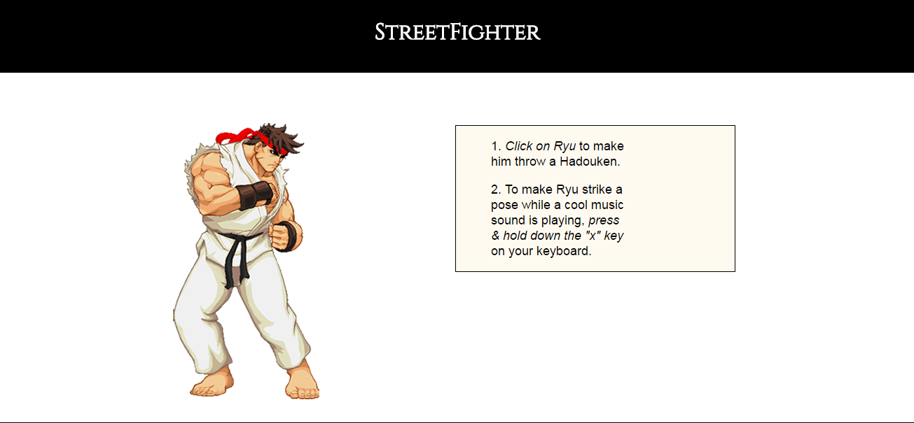Street Fighter app page